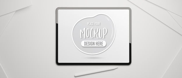 Digital tablet with mockup screen and stylus pen on white desk top view 3d rendering