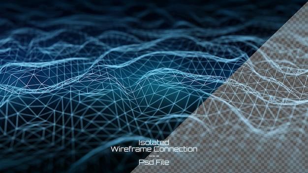 진한 파란색 배경에 디지털 와이어 프레임 연결