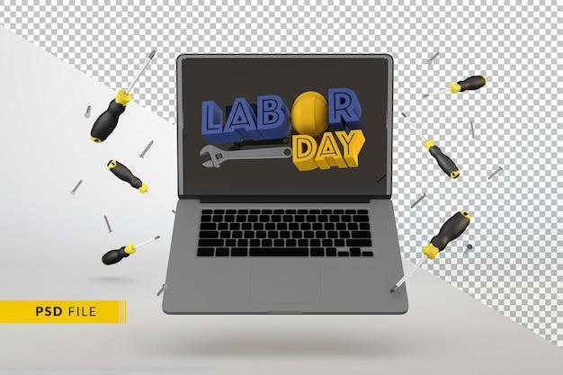 Концепция цифровой работы с днем труда 3d визуализации