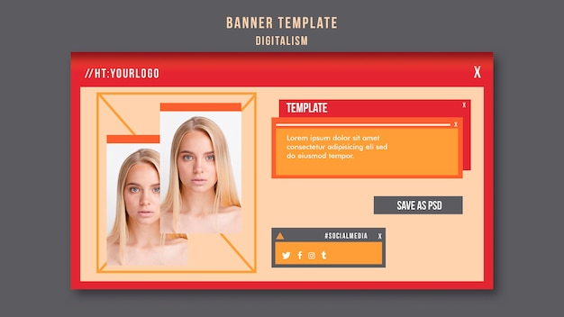 Digitalism horizontal banner template with photo