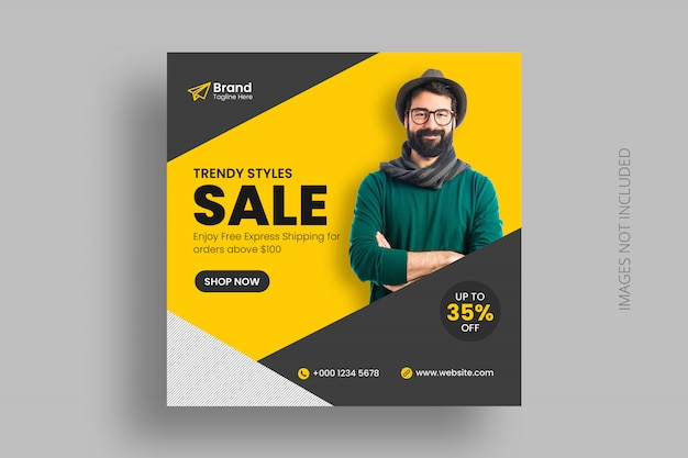 Digtial marketing social media post template square flyer