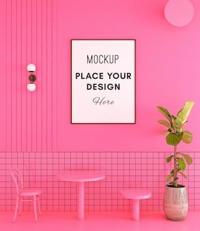 Обеденный стул с рамкой для макета на розовой стене и плитке