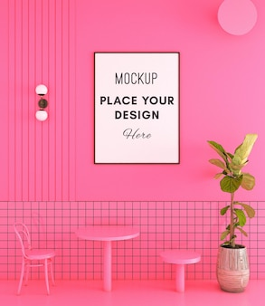 Dining chair with mockup frame on pink wall and tile