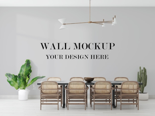 Dining room blank wall mockup in 3d rendering