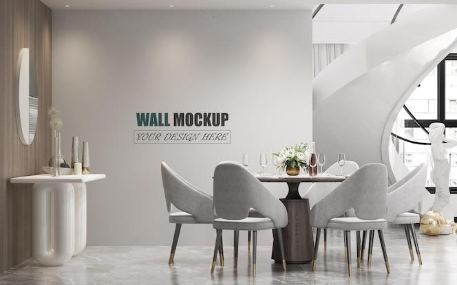 豪華でモダンなラインの壁のモックアップでデザインされたダイニングルーム