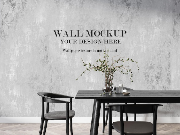 Dining room mockup in 3d rendering wall