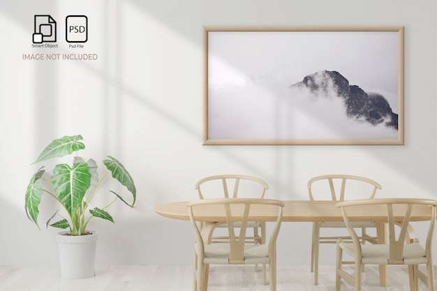 Dining room and table set mockup