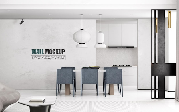 Dining room with designed with luxurious and modern lines wall mockup