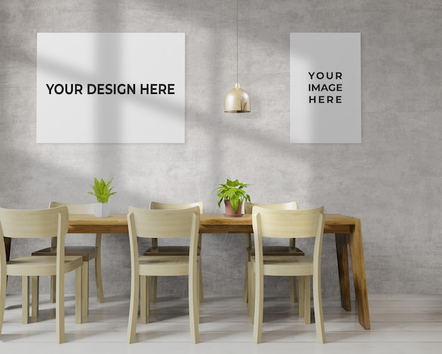 Dining room with frame mockup hanging on wall
