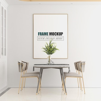 Dining space in the room frame mockup