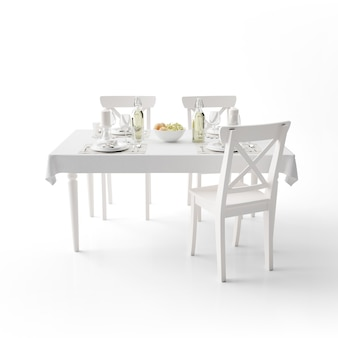 Макет обеденного стола с белой тканью и современными стульями