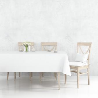 Макет обеденного стола с белой тканью и деревянными стульями