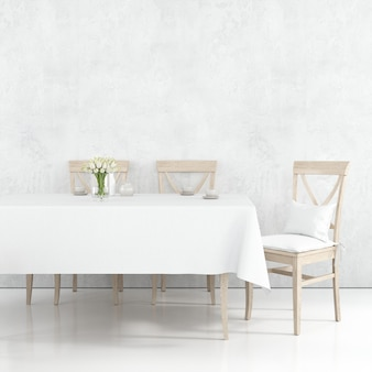 Dining table mockup with white cloth and wooden chairs