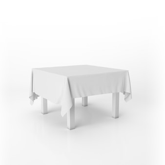 Dining table mockup with a white cloth
