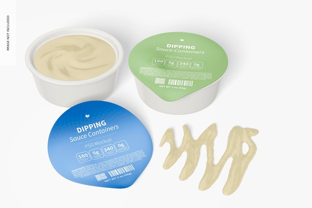 Dipping sauce containers mockup, opened and closed