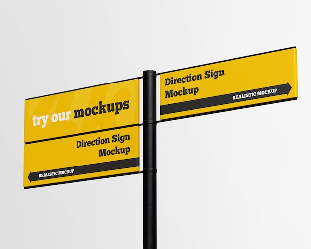 Direction sign mockup isolated