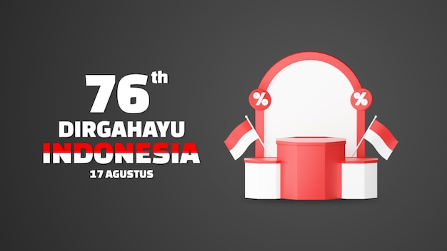 Dirgahayu indonesia means happy indonesian independence day empty podium promo display landscape background. 17 august 76 years of indonesia