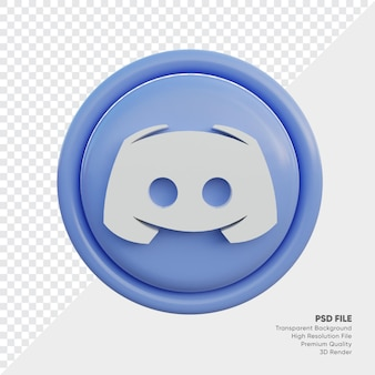 고립 된 라운드에서 디스코드 3d 스타일 로고 개념 아이콘