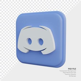 고립 된 둥근 모서리 사각형에 불협화음 아이소메트릭 3d 스타일 로고 개념 아이콘