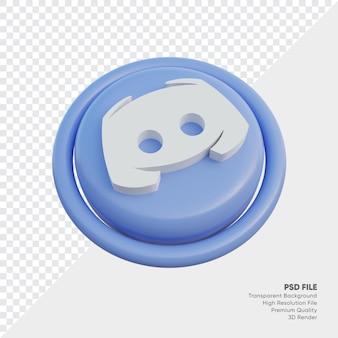 고립 된 라운드에서 불협화음 아이소메트릭 3d 스타일 로고 개념 아이콘