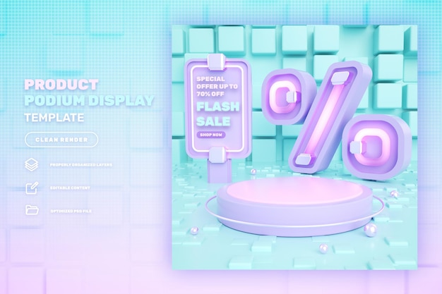 Discount 3d pink podium product display banner on flash sale special sale and super mega sale