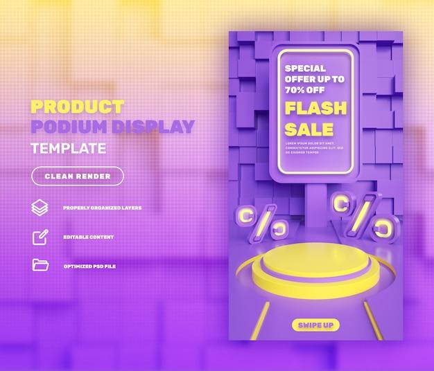 플래시 판매 슈퍼 판매를 위한 3d 연단 제품 디스플레이 소셜 미디어 인스타그램 스토리 템플릿 할인
