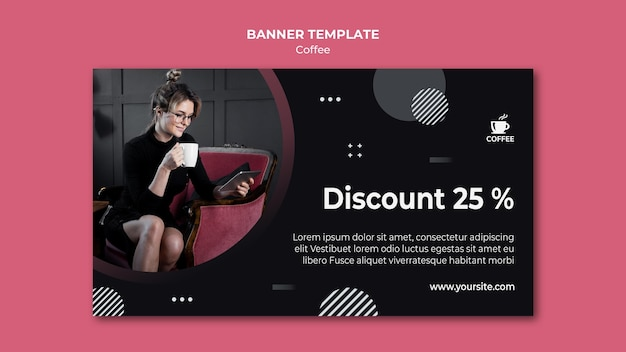 Discount for coffee banner template