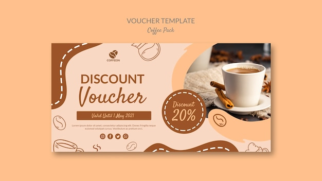 Discount coffee voucher template