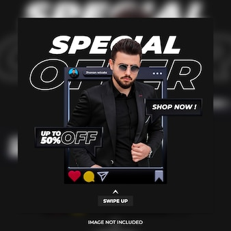 Discount promotion special offer banner social media post instagram stories template