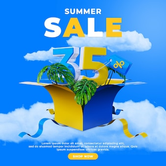 할인 프로모션 특별 여름 판매 소셜 미디어 게시물 광장 템플릿