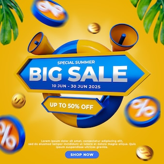 Discount promotion special summer sale social media post template