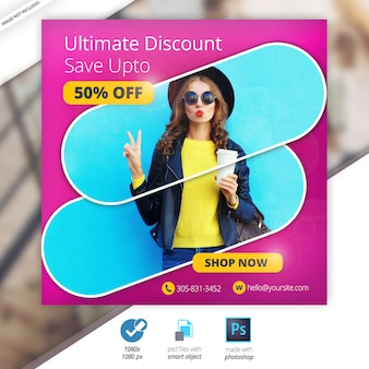 Discount sale web social media banner