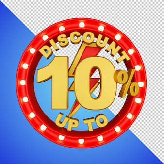 Discount up to 10 percent 3d rendering