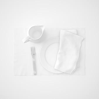 Dishware, fork and napkin