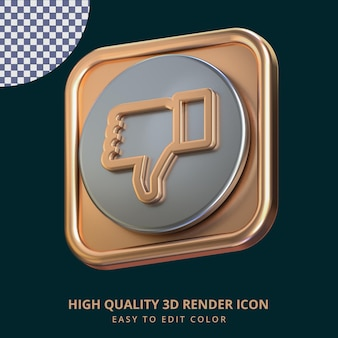 반짝이는 장미 금색과 은색 금속 효과가 있는 아이콘 3d 렌더링된 격리된 개념을 싫어합니다.