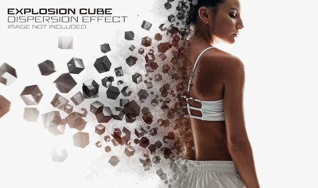 Dispersion photo effect with cubes and explosion mockup