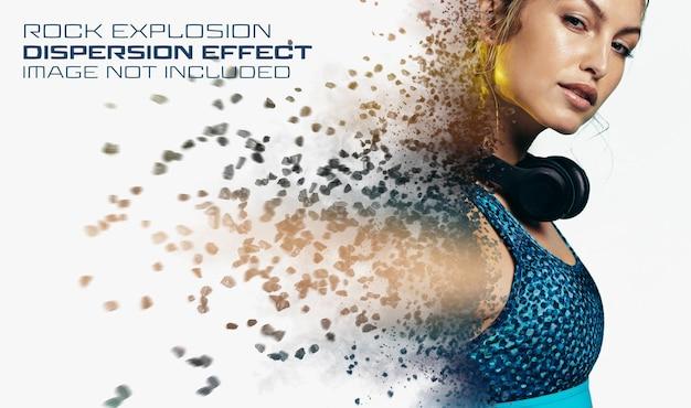 Фотоэффект рассеивания с мокапом rock explosion