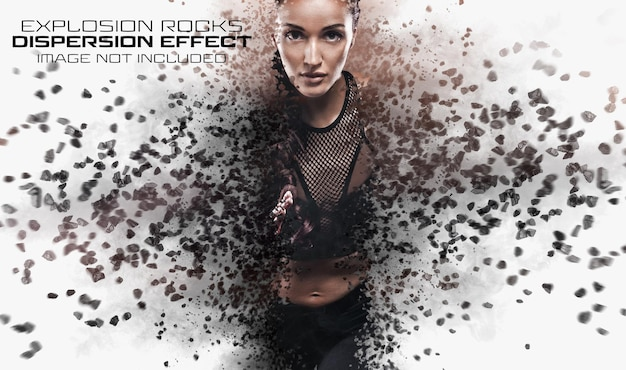 Dispersion photo effect with rock explosion mockup