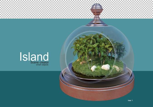 섬에 다양한 나무를 전시하세요
