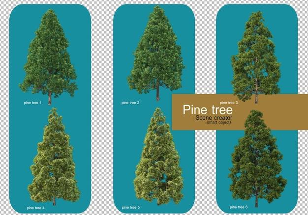 松の木のさまざまなパターンを表示します