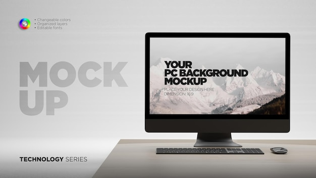 Display screen mockup on desk with mouse and keyboard