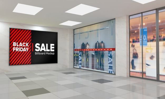 Display sign board on wall mockup in shopping center with black friday sale banner