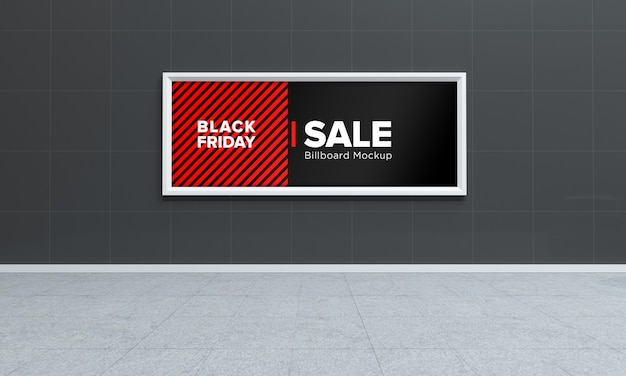 Display sign mockup in shopping center with black friday sale banner
