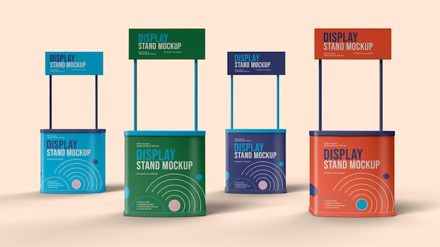 Display stand mockup design isolated