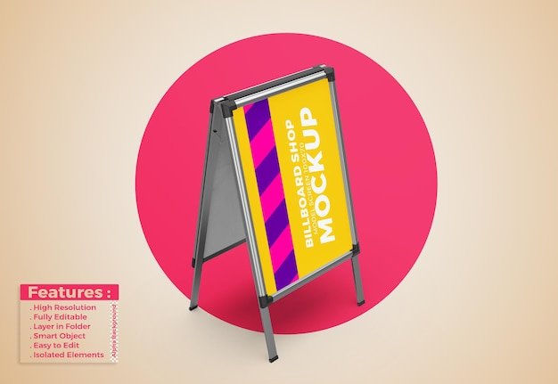 Display stand signboard poster mockup