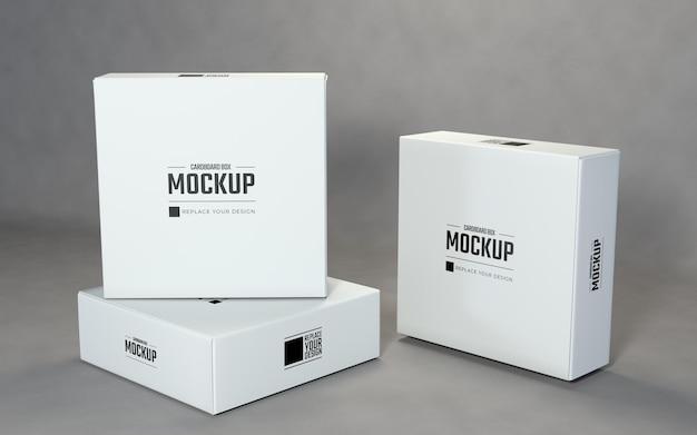 白い正方形の段ボール箱のモックアップを表示します