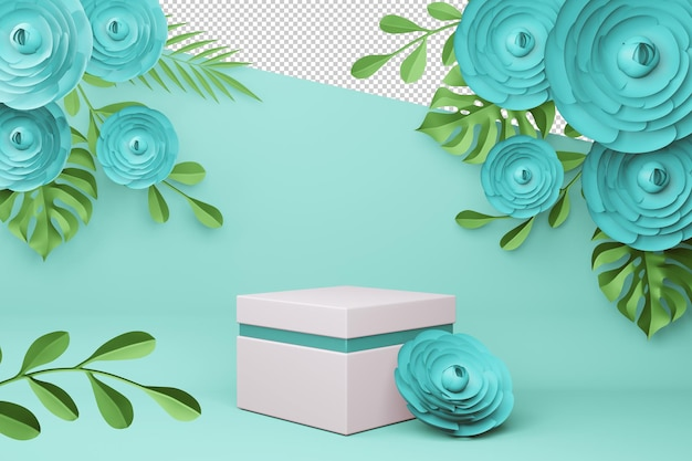 Display with flower for presentation 3d rendering
