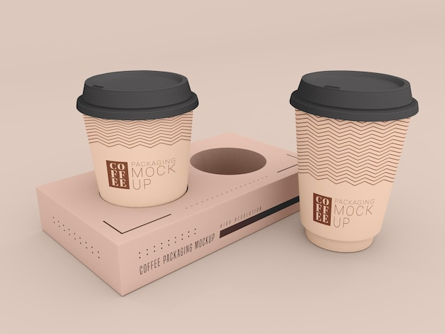 Disposable coffee cup with box mockup