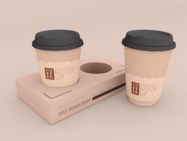 상자 모형이있는 일회용 커피 컵