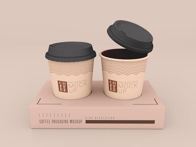 ボックスモックアップ付き使い捨てコーヒーカップ
